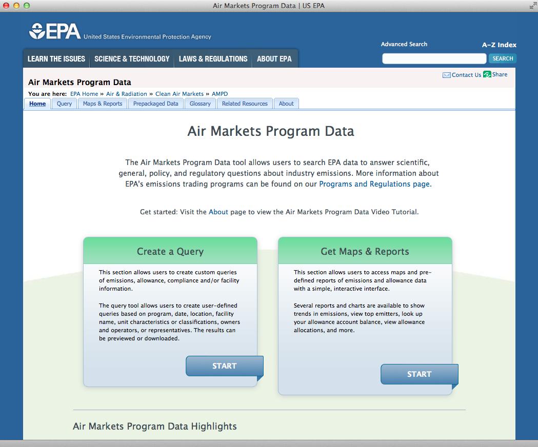 EPAのサイトでは米国の全発電施設の時間ごとの運用データが見られる