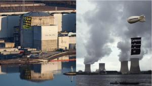 左:フェッセンハイム原子力発電所、右:キャッテノム原子力発電所、写真:Greenpeace