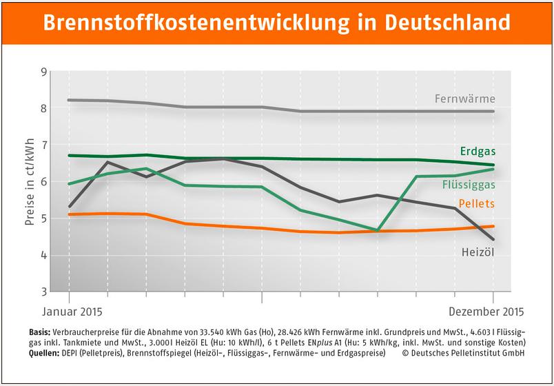 ドイツの燃料コストの推移:横軸は時間(2015年1月―12月)、縦軸は価格(ct/kWh)を示している。凡例は上から地域熱、天然ガス、液化ガス(都市ガス)、ペレット、暖房用灯油(出所:DEPV)