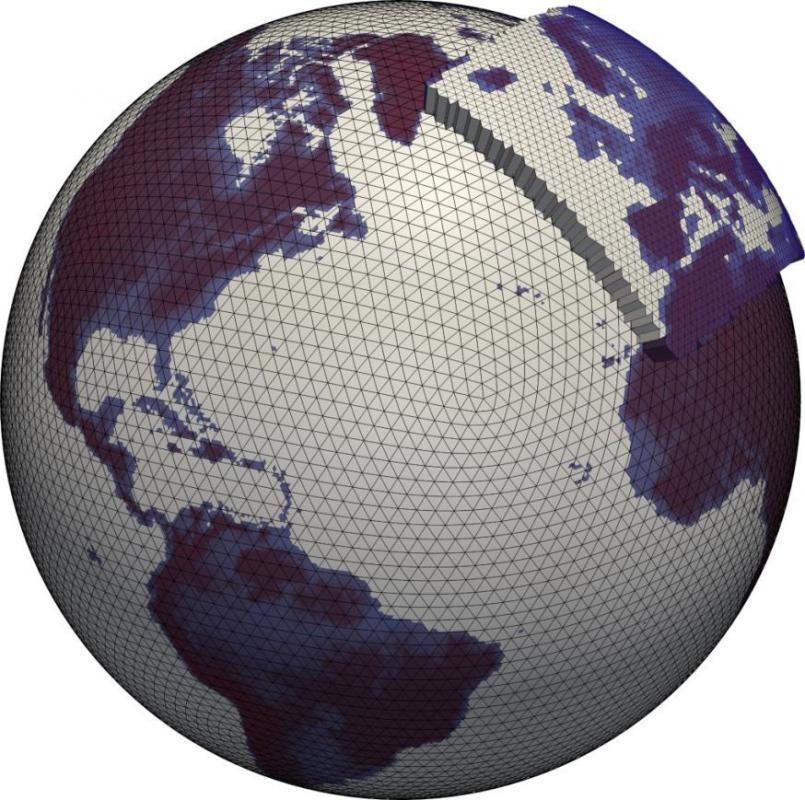 図3|地球モデルICONは13km幅のメッシュを使用(この画像の縮尺とは異なります) 出典 DWD - Offenbach