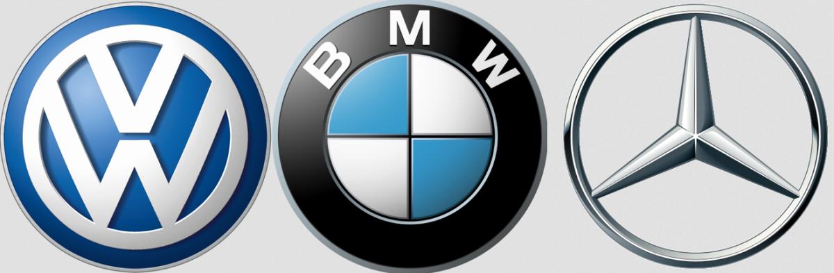 フォルクスワーゲン、BMW、メルセデスベンツのロゴ