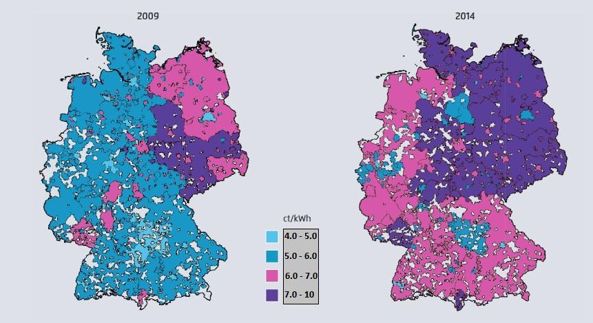 図2:系統利用料の地域格差、出典:Agora Energiewende