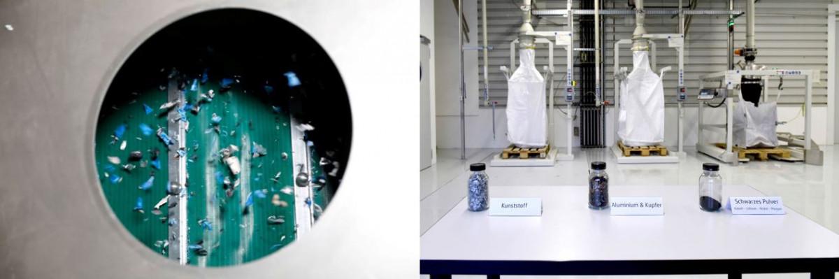 バッテリーを粉砕すると、さまざまな有価物を回収することができるが、中には分離してリサイクルするのが難しいものもある / 写真:フォルクスワーゲン